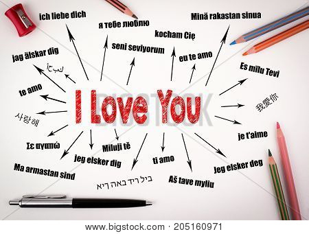 I love you Concept. Chart with text in different languages. Communication and love background.