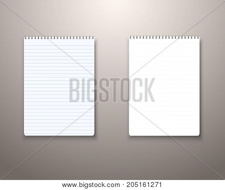 Illustration of Vector Notepad Template. Realistic Vector Blank Notepad TextBook