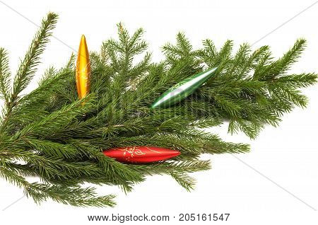 Christmas tree fir branches with icicle isolated on white background. Christmas decoration.