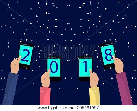 Concept of xmas and new year holidays celebration with snowflakes for Greeting card design. Hands holding mobile phones. Flat illustration.