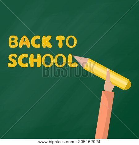 Back To school. Man holds a pen and writes on the blackboard. Flat Ilustration
