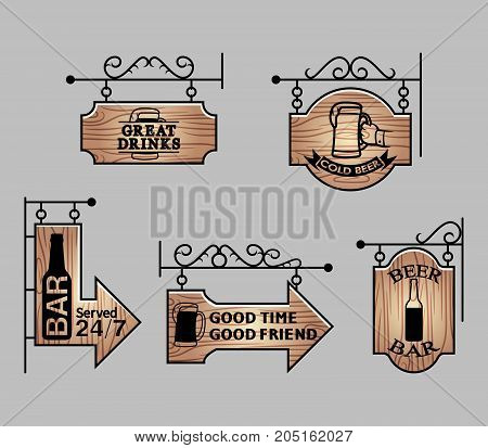 Vector illustration collection of wood beer bar signage