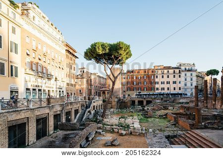 Rome, Italy - August 20, 2016:  Largo di Torre Argentina at sunset, It is a square with four roman Republican temples and the remains of Pompey's Theatre. It is in the ancient Campus Martius