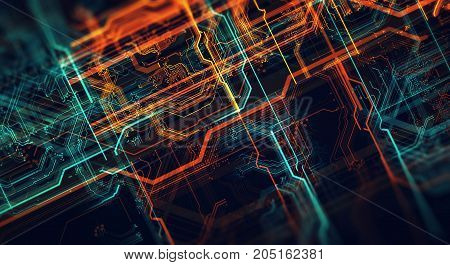 Abstract technological background made of different element printed circuit board and flares. Depth of field effect. 3d Render