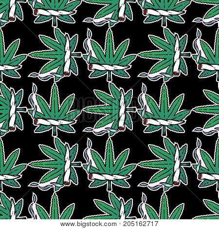 Pop ganja weed marijuana seamless vector pattern background in cartoon 90s party style. Joint and leaf ornament. For wallpaper, pattern fills, web page background, surface textures.