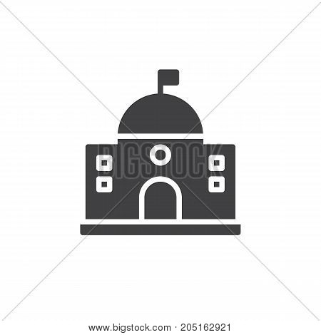 Capitol building icon vector, filled flat sign, solid pictogram isolated on white. Symbol, logo illustration.