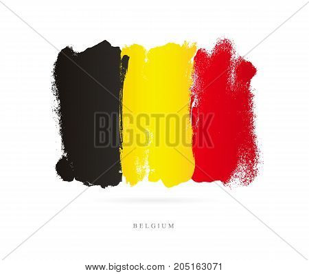 Flag of Belgium. Vector illustration on white background. Beautiful brush strokes. Abstract concept. Elements for design.