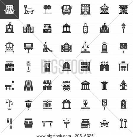 Urban infrastructure vector icons set, modern solid symbol collection, filled pictogram pack. Signs, logo illustration. Set includes icons as playground, buildings, bus stop, high service, road map