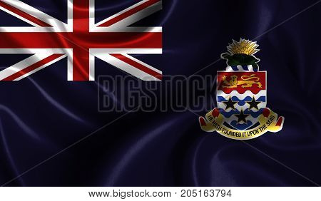 Realistic flag of Cayman islands on the wavy surface of fabric. This flag can be used in design