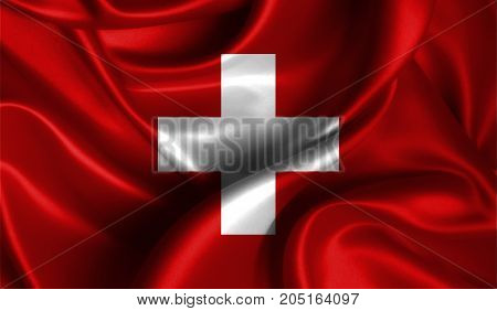 Realistic flag of Switzerland on the wavy surface of fabric. This flag can be used in design