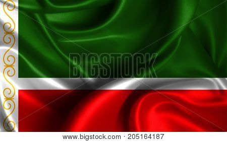 Realistic flag of Chechen Republic on the wavy surface of fabric. This flag can be used in design