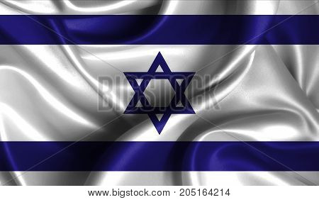 Realistic flag of Israel on the wavy surface of fabric. This flag can be used in design