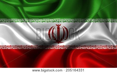 Realistic flag of Iran on the wavy surface of fabric. This flag can be used in design