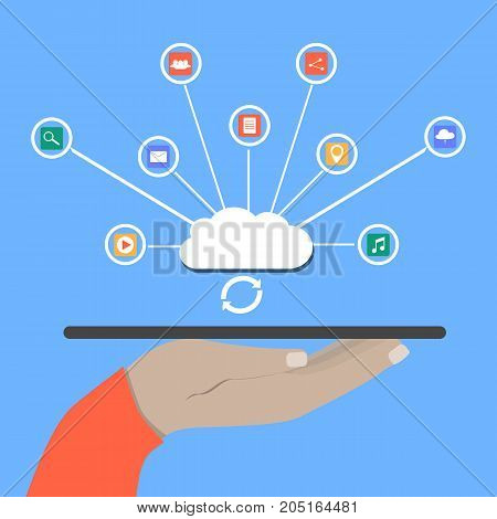Modern Cloud Services and Cloud Computing Elements Concept. Flat Vector Illustration. Hand holds a tablet and share data on cloud. flat illustration.