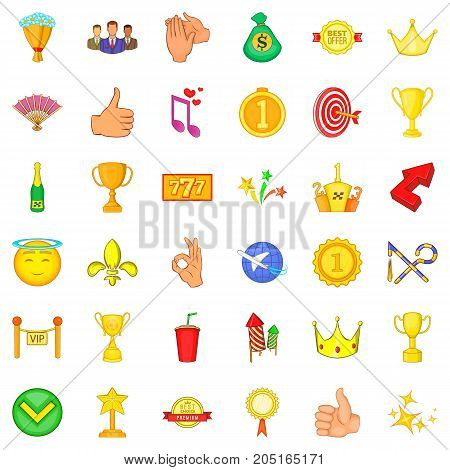 Prize icons set. Cartoon style of 36 prize vector icons for web isolated on white background