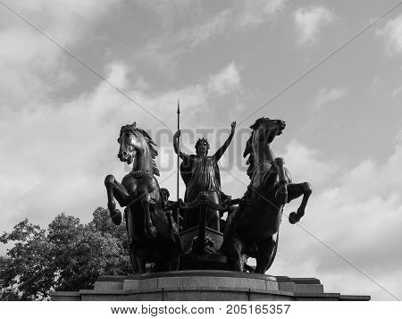 Boadicea Monument In London Black And White