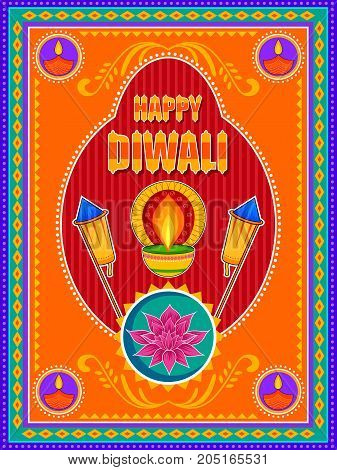 Vector design of Happy Diwali India festival greeting background in Indian truck kitsch art style