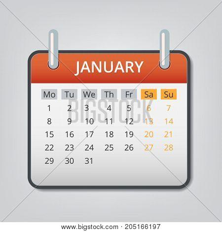 January 2018 calendar concept background. Cartoon illustration of january 2018 calendar vector concept background for web design
