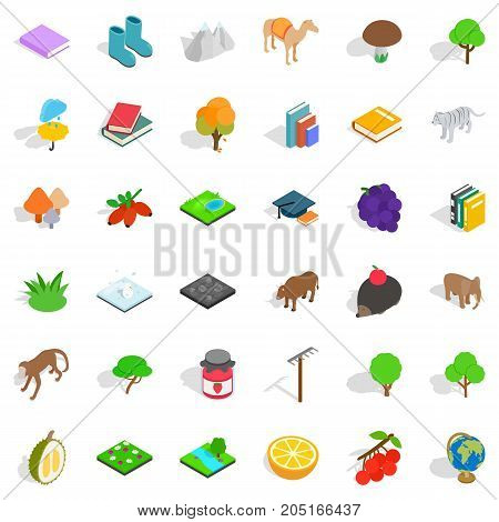 Fauna icons set. Isometric style of 36 fauna vector icons for web isolated on white background
