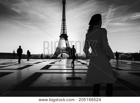 Silhouette Shot Of Eiffel Tower In Paris From Trocadero.