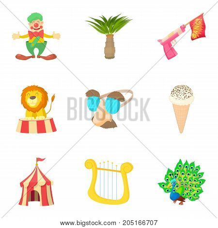 Fancy dress party icons set. Cartoon set of 9 fancy dress party vector icons for web isolated on white background