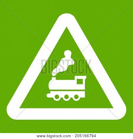 Warning sign railway crossing without barrier icon white isolated on green background. Vector illustration