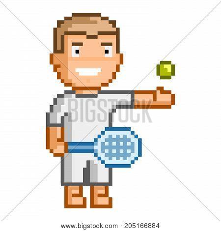 Vector 8-bit pixel art tennis player on white background.