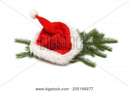 Santa claus Christmas hat laying in fir tree branches isolated on white background. Christmas decoration.