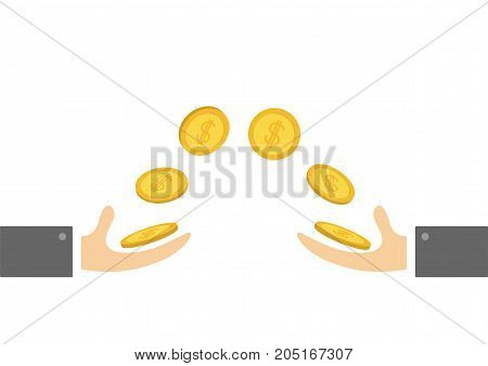 Giving and taking Hands Flying golden coin money dollar sign. Helping hand concept. Flat design style. Business support credit icon set. White background. Vector illustration.