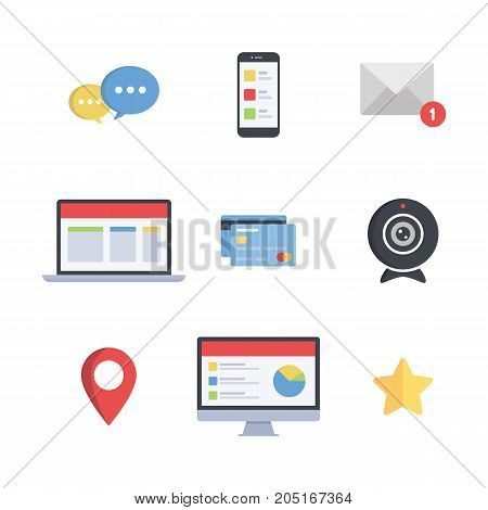 Web Icons Set Communication Technologies  Digital Vector