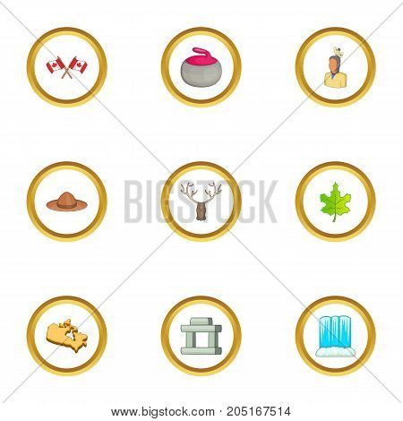 Canada sight icons set. cartoon style set of 9 canada sight vector icons for web design