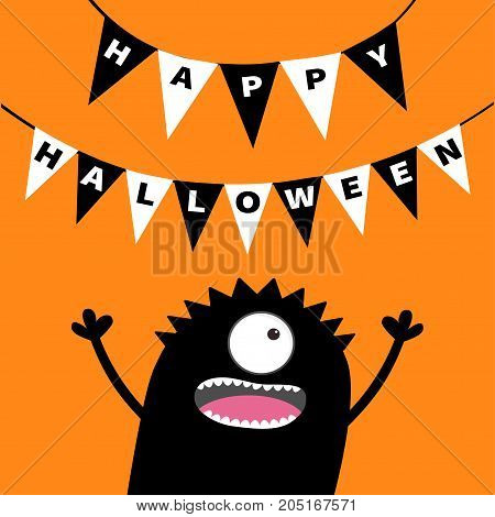 Screaming monster head silhouette. Bunting flags pack Happy Halloween letters. Hanging flag garland. Black Funny Cute cartoon baby character. Flat design. Orange background. Vector