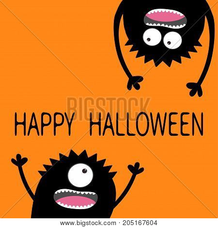 Two black screaming monster head silhouette set. Happy Halloween. Eyes teeth tongue hands. Hanging upside down. Funny Cute cartoon character. Baby collection. Flat design. Orange background. Vector