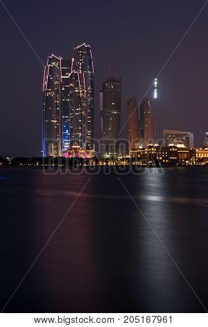 Abu Dhabi buildings skyline. Arabian Emirates towers