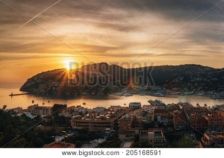 Panoramic view of Harbour of Port de Andratx at sunset Mallorca Balearic Islands Spain Europe