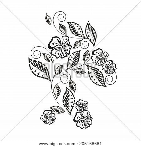 Monochrome hand drawn decorative floral element for coloring page, print, tattoo stock vector illustration
