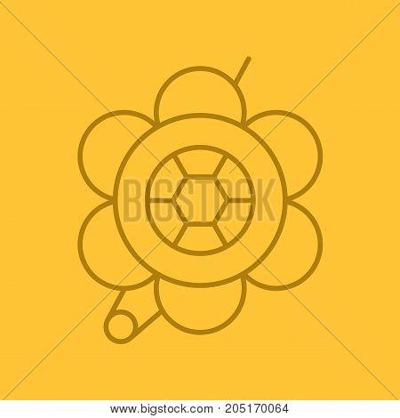 Brooch linear icon. Flower shape brooch. Thin line outline symbols on color background. Vector illustration