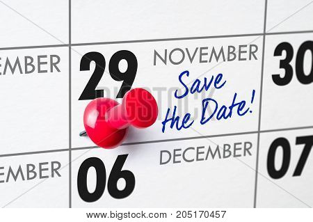 Wall Calendar With A Red Pin - November 29