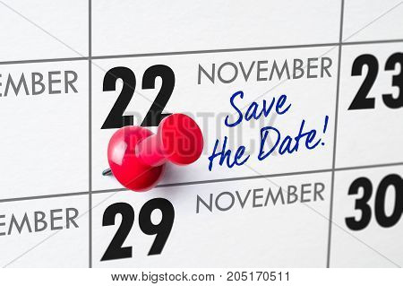 Wall Calendar With A Red Pin - November 22