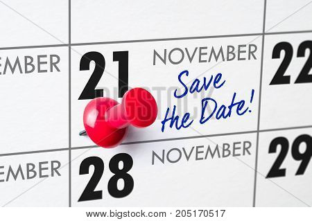 Wall Calendar With A Red Pin - November 21