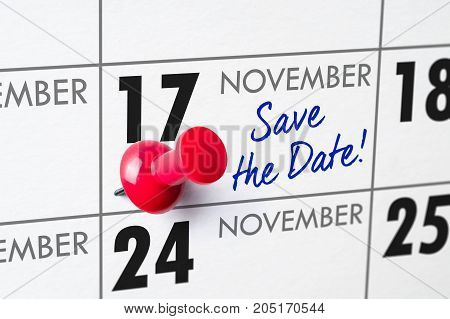 Wall Calendar With A Red Pin - November 17