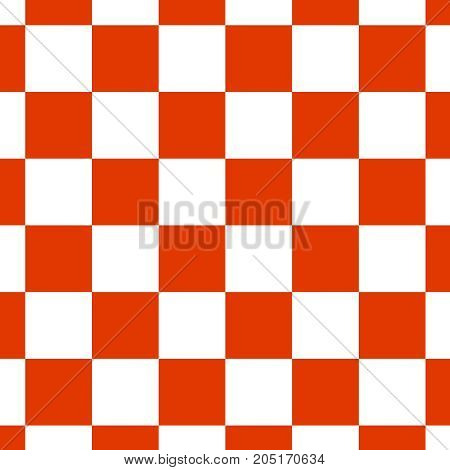 Chequered seamless pattern in red and white. Checkerboard background.