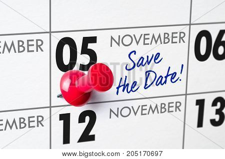Wall Calendar With A Red Pin - November 05