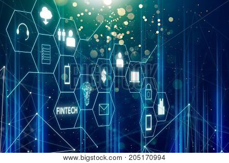 Fintech icon and internet of things with matrix code background Investment and financial internet technology concept.
