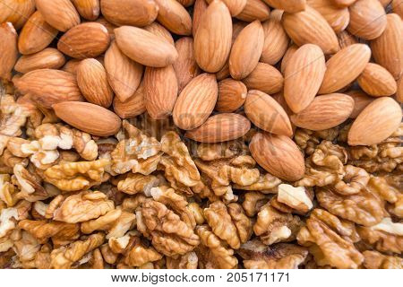 Walnuts and almonds are located horizontally background texture