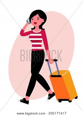 Cartoon Character Design Female Woman Talking On The Phone Heading To Airport