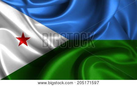 Realistic flag of Djibouti on the wavy surface of fabric. This flag can be used in design