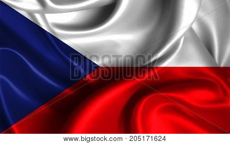 Realistic flag of Czech Republic on the wavy surface of fabric. This flag can be used in design