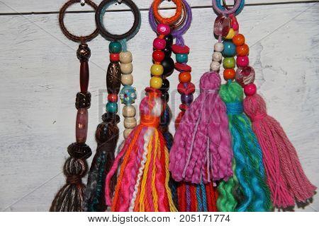 tassels and pompoms wool handicrafts bijouterie pearls