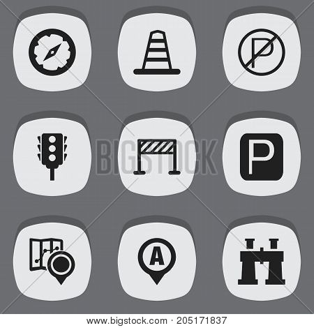 Set Of 9 Editable Location Icons. Includes Symbols Such As Spyglass, Prohibited Car Stay, Gps And More
